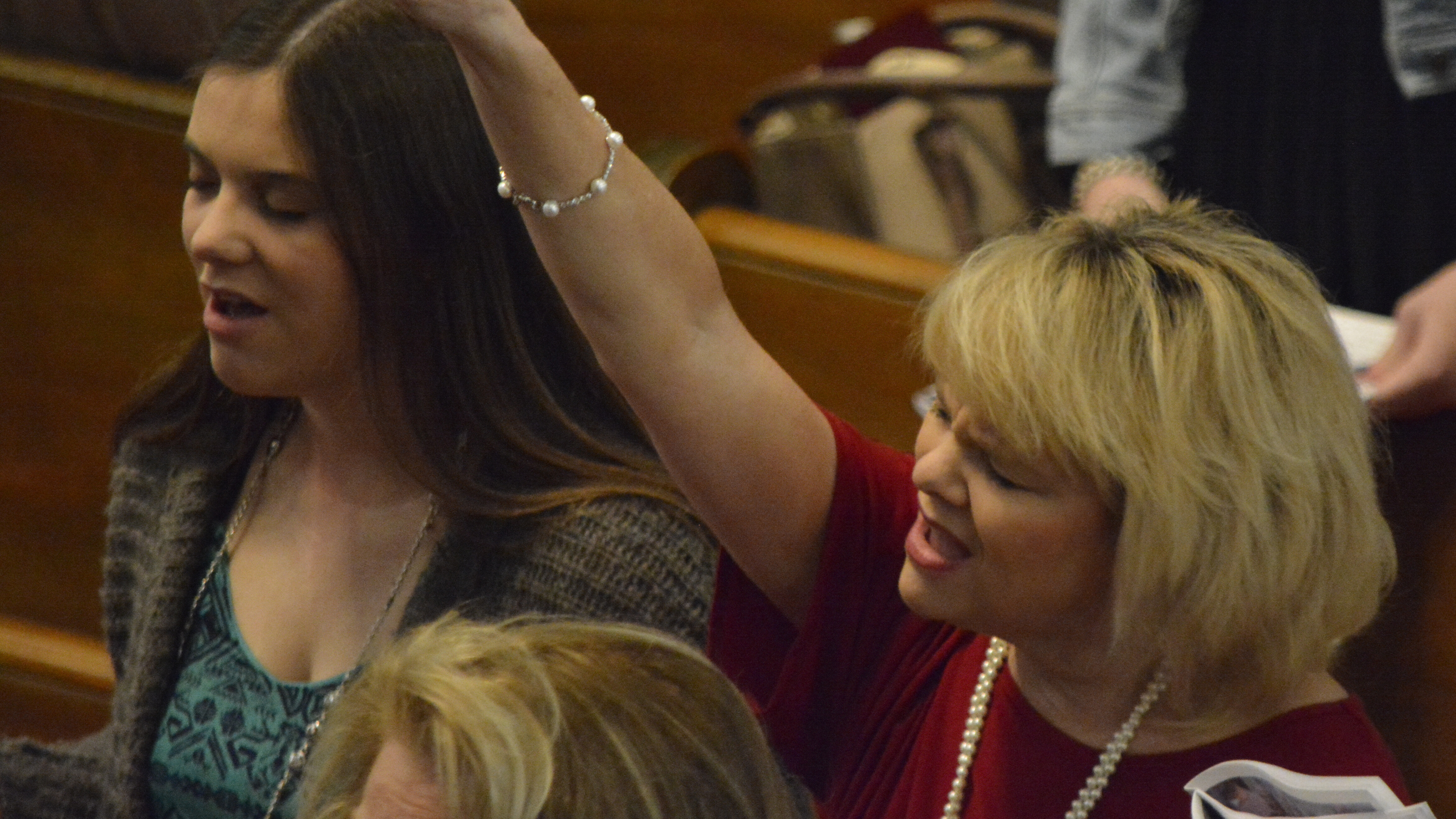 Ann and Andrea worshipping at First Baptist