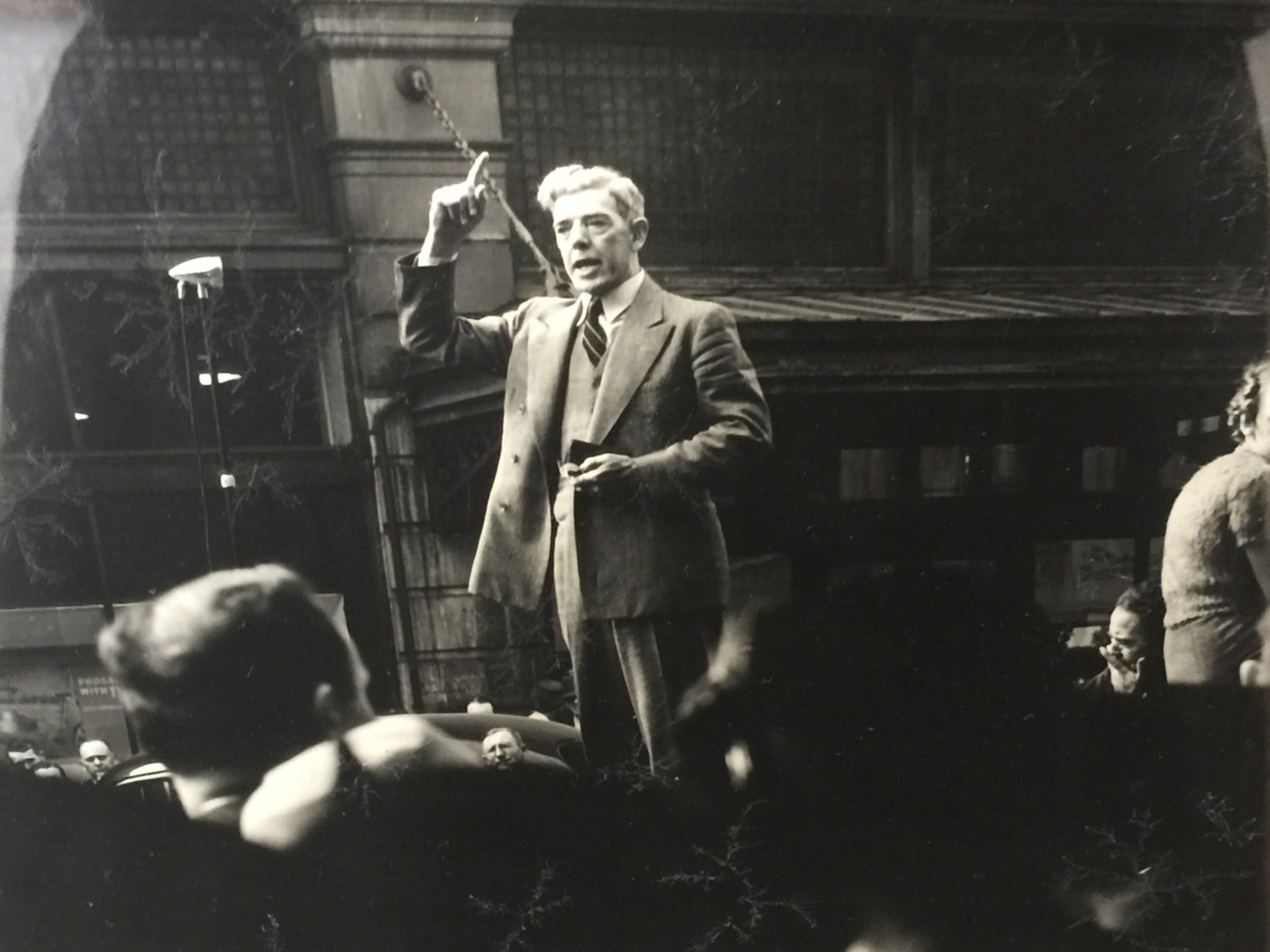 Dr. Fred Brown preaching in Market Square in the 1930s.